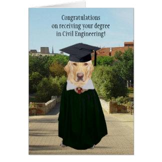 Chien drôle/ingénieur civil obtention du diplôme carte de vœux