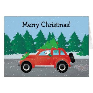 Chien esquimau américain conduisant une voiture - carte de vœux