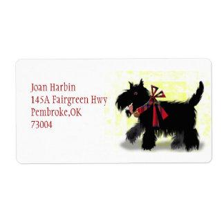 chien scotty heureux étiquette d'expédition
