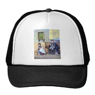 Chien vintage d'enfants de fille de garçon de gare casquettes