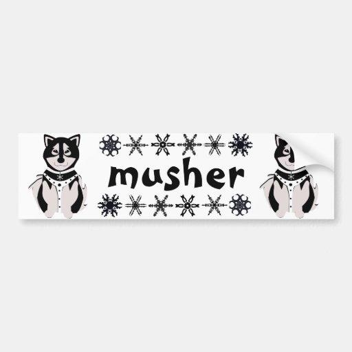"""Chiens de traîneau de Malamute de """"Musher"""" Adhésif Pour Voiture"""