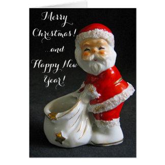Chiffre vintage mignon Noël de père Noël Carte De Vœux