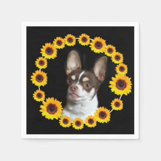 Chihuahua and sunflowers cocktail napkins disposable napkin