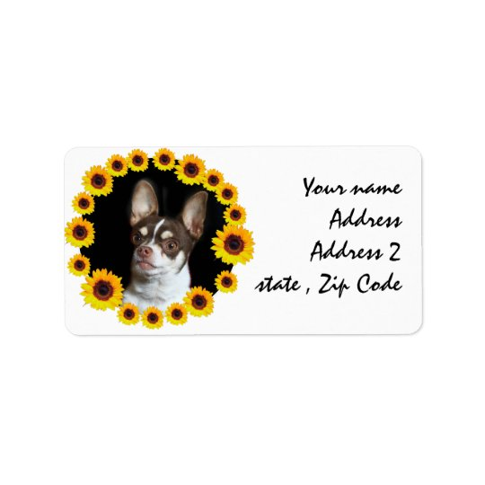 Chihuahua and sunflowers mailing labels