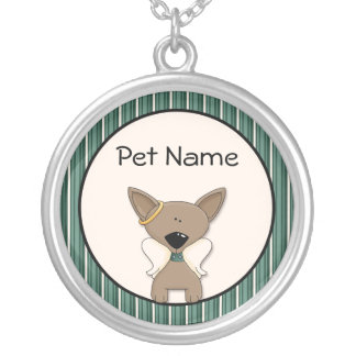 Chihuahua Angel Dogs Keepsake Name Necklace Silver