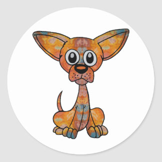 Chihuahua Batik Round Sticker
