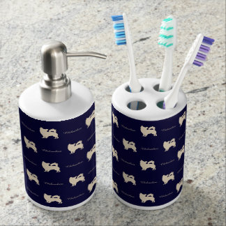 Chihuahua BL Soap Dispenser And Toothbrush Holder