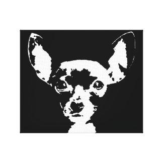 Chihuahua Black & White Wrapped Canvas Print