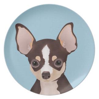 Chihuahua cartoon dinner plate