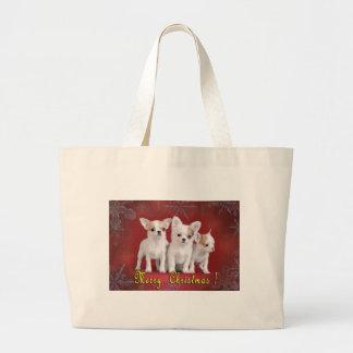 chihuahua christmas large tote bag