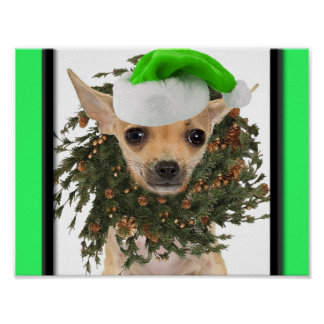 Chihuahua Christmas Wreath & Hat Poster