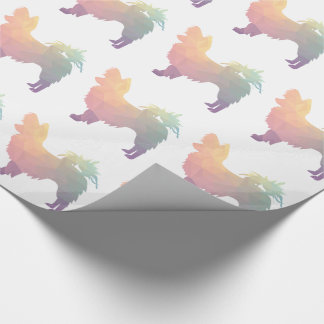 Chihuahua Colorful Geometric Pattern Silhouette Wrapping Paper