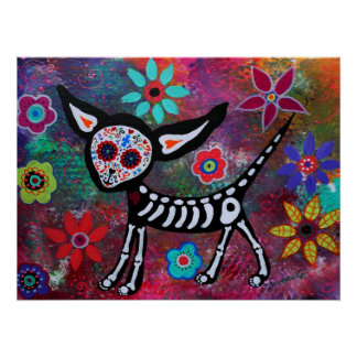 CHIHUAHUA COUPLE DAY OF THE DEAD POSTER