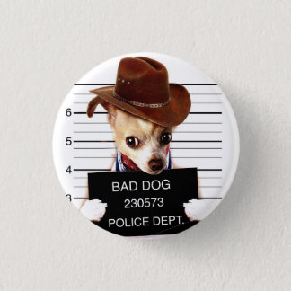 chihuahua cowboy - sheriff dog 1 inch round button