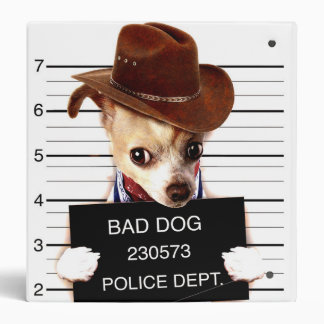 chihuahua cowboy - sheriff dog 3 ring binder