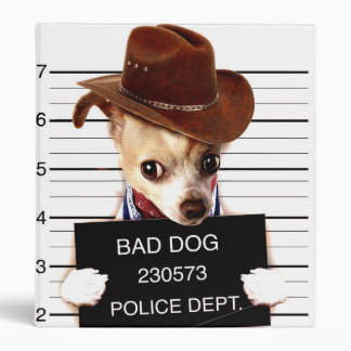 chihuahua cowboy - sheriff dog 3 ring binders