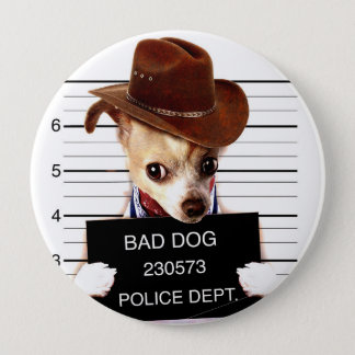 chihuahua cowboy - sheriff dog 4 inch round button