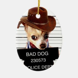 chihuahua cowboy - sheriff dog ceramic ornament