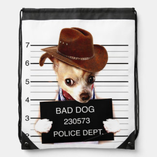 chihuahua cowboy - sheriff dog drawstring bag