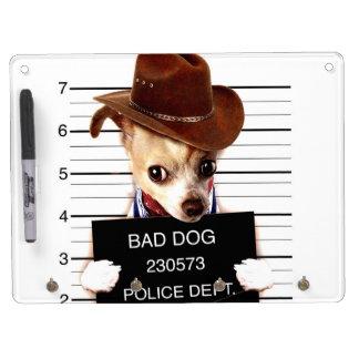 chihuahua cowboy - sheriff dog dry erase board with keychain holder