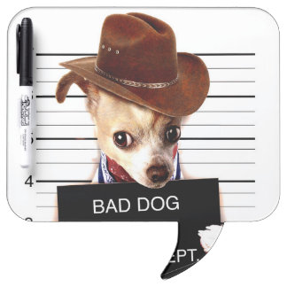 chihuahua cowboy - sheriff dog dry erase boards