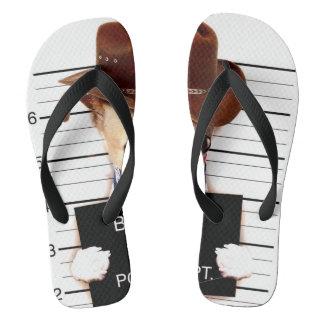 chihuahua cowboy - sheriff dog flip flops