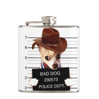 chihuahua cowboy - sheriff dog hip flask