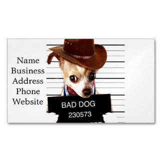 chihuahua cowboy - sheriff dog 	Magnetic business card