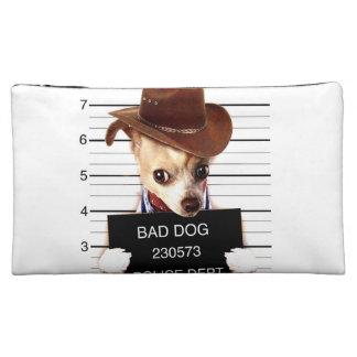 chihuahua cowboy - sheriff dog makeup bag