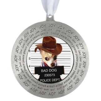 chihuahua cowboy - sheriff dog pewter ornament
