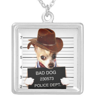 chihuahua cowboy - sheriff dog silver plated necklace