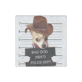 chihuahua cowboy - sheriff dog stone magnets