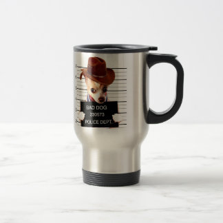 chihuahua cowboy - sheriff dog travel mug