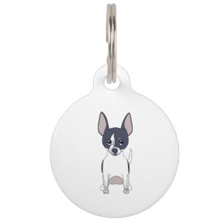 Chihuahua Cute Grinning Black White Pet ID Tags