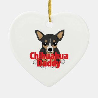 Chihuahua Daddy Black Tan Ceramic Ornament