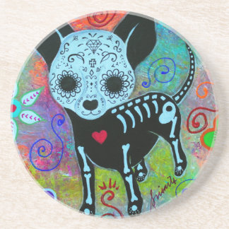 CHIHUAHUA DAY OF THE DEAD PERRO BEVERAGE COASTERS