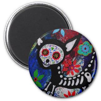 Chihuahua Dia De los Muertos by Prisarts 2 Inch Round Magnet