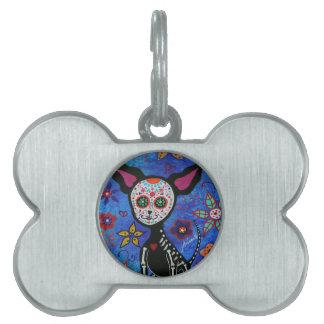Chihuahua Dia de los Muertos Pet Tag