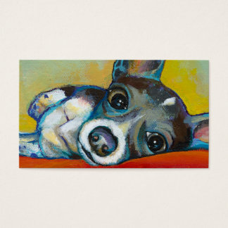 Chihuahua dog art - adorable fun portrait painting business card
