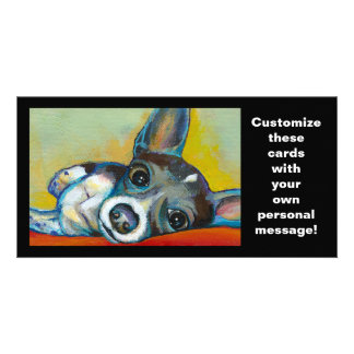 Chihuahua dog art - adorable fun portrait painting customized photo card
