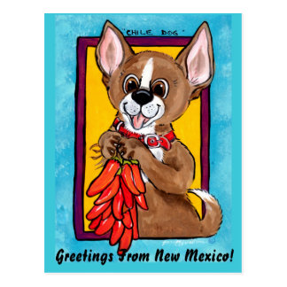 Chihuahua Dog Chili Peppers New Mexico Postcard