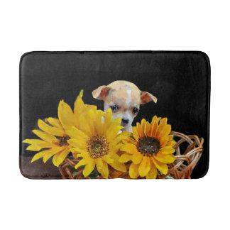Chihuahua dog in sunflowers bathmat