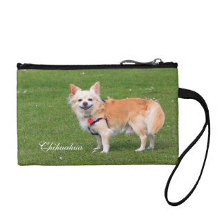 Chihuahua dog long-haired beautiful photo coin purses