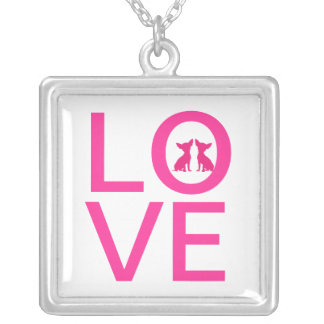 Chihuahua dog love pink necklace, gift idea silver plated necklace