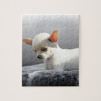 Chihuahua Dog Sitting Dog Portrait Art Painting Jigsaw Puzzle