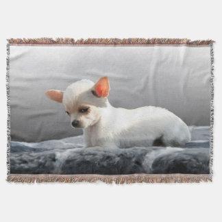 Chihuahua Dog Sitting Dog Portrait Art Painting Throw Blanket