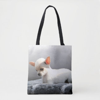Chihuahua Dog Sitting Dog Portrait Art Painting Tote Bag