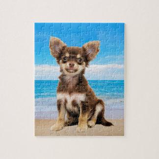 Chihuahua Dog Sitting on Tropical Beach Jigsaw Puzzle