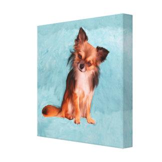 Chihuahua Dog Watercolor Art Portrait Painting Canvas Print