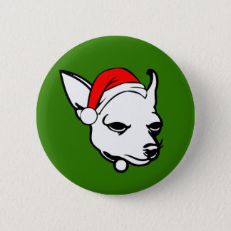 Chihuahua Dog with Christmas Santa Hat 2 Inch Round Button